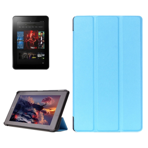 Buy Karst Texture Horizontal Flip Solid Color Leather Case with Three-Folding Holder for Amazon Fire (2015 Version), Blue for $4.21 in SUNSKY store