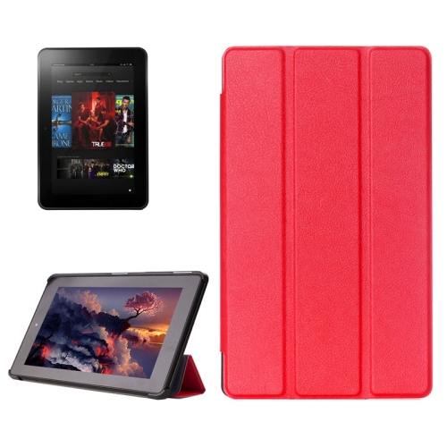 Buy Karst Texture Horizontal Flip Solid Color Leather Case with Three-Folding Holder for Amazon Fire (2015 Version), Red for $4.21 in SUNSKY store