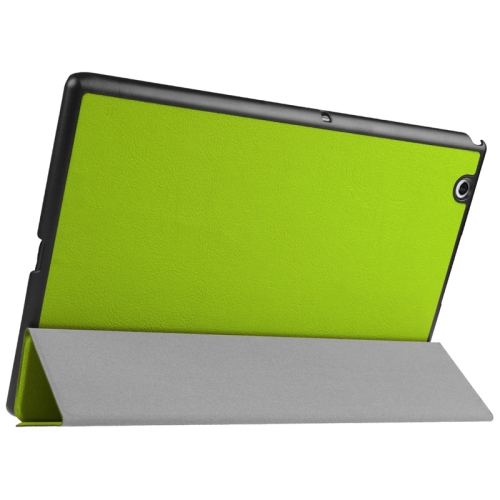 Buy Karst Texture Horizontal Flip Solid Color Leather Case with Three-Folding Holder for Sony Xperia Z4, Green for $5.17 in SUNSKY store