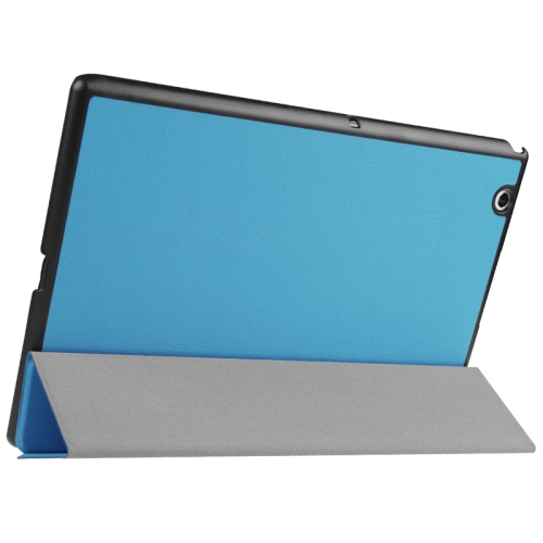 Karst Texture Horizontal Flip Solid Color Leather Case with Three-Folding Holder for Sony Xperia Z4, Blue