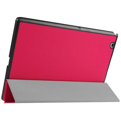 Buy Karst Texture Horizontal Flip Solid Color Leather Case with Three-Folding Holder for Sony Xperia Z4, Magenta for $5.17 in SUNSKY store