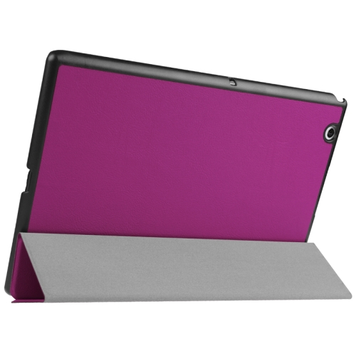 Buy Karst Texture Horizontal Flip Solid Color Leather Case with Three-Folding Holder for Sony Xperia Z4, Purple for $5.17 in SUNSKY store