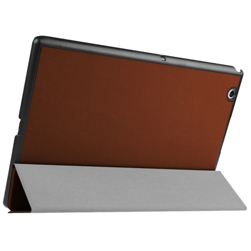 Buy Karst Texture Horizontal Flip Solid Color Leather Case with Three-Folding Holder for Sony Xperia Z4, Brown for $5.17 in SUNSKY store