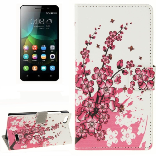Buy Plum Blossom Pattern Horizontal Flip Leather Case with Card Slots & Wallet & Holder for Huawei Honor 4C for $2.29 in SUNSKY store