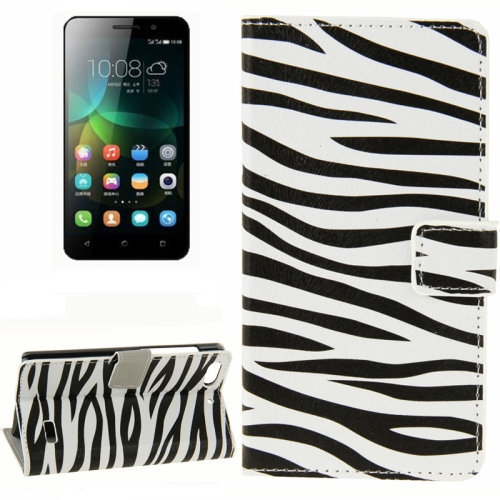 Buy Zebra Pattern Horizontal Flip Leather Case with Card Slots & Wallet & Holder for Huawei Honor 4C for $2.29 in SUNSKY store