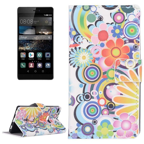 Colorful Daisy Flower Pattern Flip Leather Case with Holder & Card Slots for Huawei P8