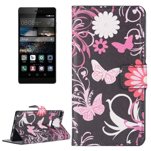 Buy Butterfly Loves Flower Pattern Flip Leather Case with Holder & Card Slots for Huawei P8 for $2.44 in SUNSKY store