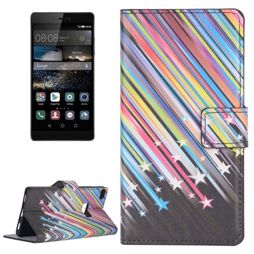 Buy Colorful Meteor Shower Pattern Flip Leather Case with Holder & Card Slots for Huawei P8 for $2.44 in SUNSKY store