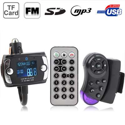 Car Bluetooth Handfree MP3 Player FM Transmitter with Steering Wheel Remote, Support USB Flash Disk & SD / MMC/ TF Card(Black)
