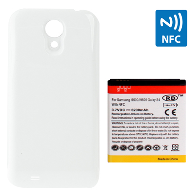 Buy 6200mAh Replacement Mobile Phone Battery with NFC & Cover Back Door for Samsung Galaxy S IV / i9500, White for $8.53 in SUNSKY store