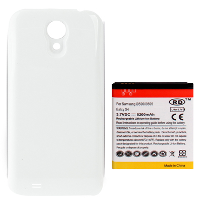 Buy 6200mAh Replacement Mobile Phone Battery & Cover Back Door for Samsung Galaxy S IV / i9500, White for $7.08 in SUNSKY store