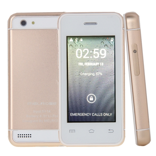 MELROSE S9+, 512MB+8GB+16GB TF Card, 2.4 inch Smart Card Android 4.4 MTK6580 Quad Core up to 1.3GHz, Support Bluetooth / WiFi, Network: 3G(Gold)
