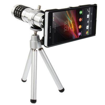 Buy 12X Optical Zoom Mobile Phone Telescope Circumscribing Lens with Tripod + Plastic Case for Sony Xperia Z / L36h, Silver for $13.11 in SUNSKY store