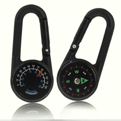 Buy Carabiner Key Compass & Thermometer Hiking Outdoor Travel, Black for $1.42 in SUNSKY store