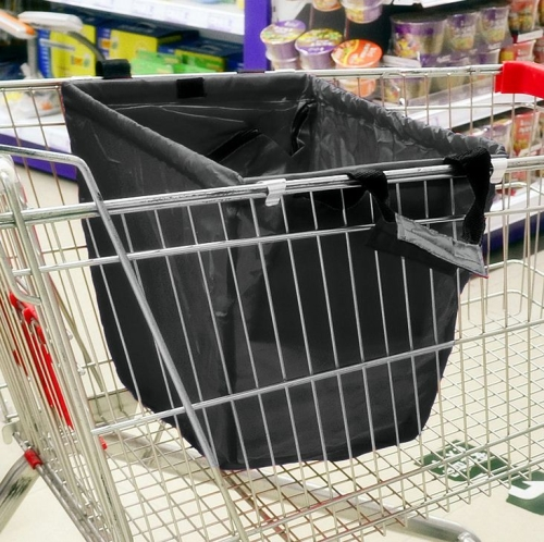 Buy Supermarket Grocery Cart Bags Tote Cart Bags Folder Shopping Cart Bags, Black for $4.16 in SUNSKY store