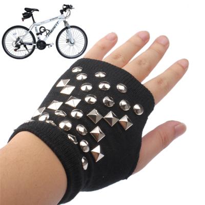 Mixed Rivets Bicycle Half Gloves
