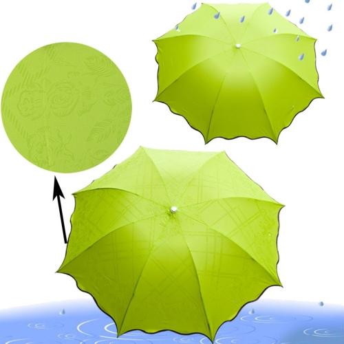 Buy 3 Fold Water flower Color Umbrella / Apollo Princess Arch Umbrella / Creative Mushroom Discoloration Umbrella, Green for $4.16 in SUNSKY store