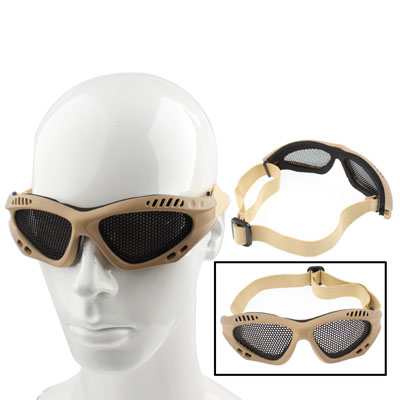 Buy Outdoor Protective Goggles No Fog Steel Mesh Glasses, Khaki for $2.97 in SUNSKY store