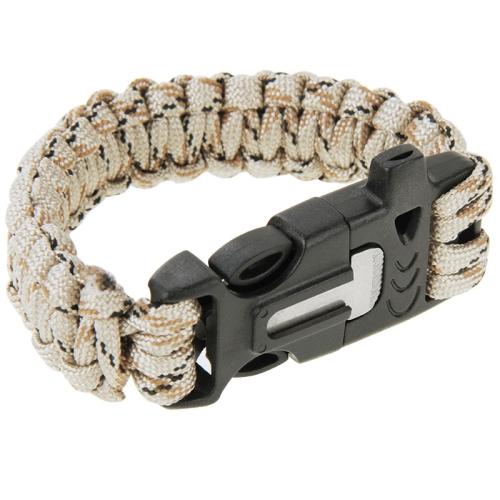 Buy Multi-functional Outdoor Flint Nylon Braided Survival Bracelets with Whistle, Length: 25cm, Khaki for $1.43 in SUNSKY store