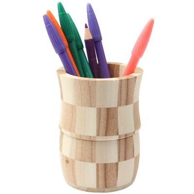 Buy Wooden Vase Type Brush Pot Pen Container Pen Holder Tubular Penrack for $2.08 in SUNSKY store