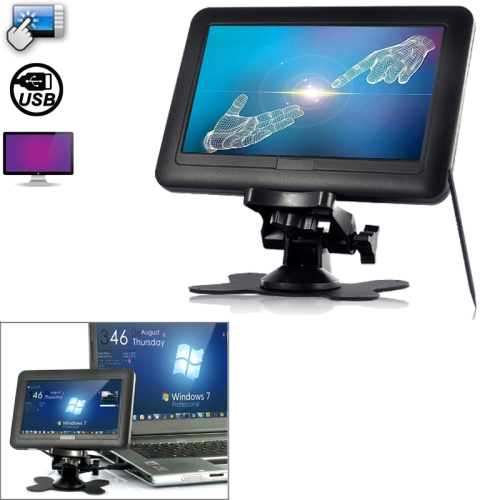 Feelworld DP-701/T, 7 inch TFT LCD 4 Wire Resistive USB Powered Touchscreen Monitor for Computers, Black