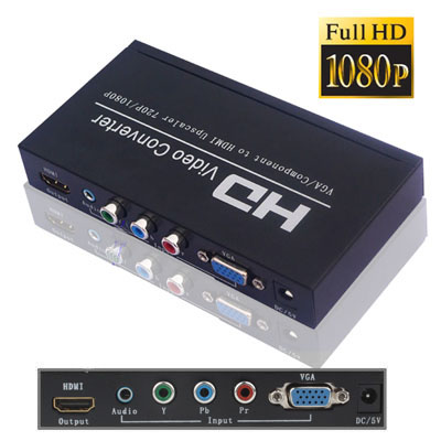 Buy VGA / Component to HDMI Converter, 1080P Scaler Box, Black for $35.45 in SUNSKY store