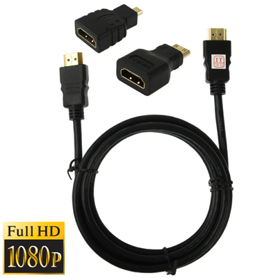 Buy 3 in 1 Full HD 1080P HDMI Cable Adaptor Kit (1.5m HDMI Cable + HDMI to Mini HDMI Adaptor + HDMI to Micro HDMI Adaptor) for $2.15 in SUNSKY store
