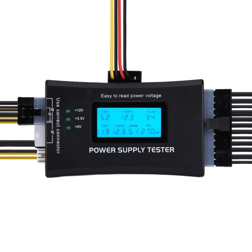 Buy Digital LCD Display PC Computer 20/24 Pin Power Supply Tester Checker Power Measuring Diagnostic Tester Tool, Black for $8.43 in SUNSKY store