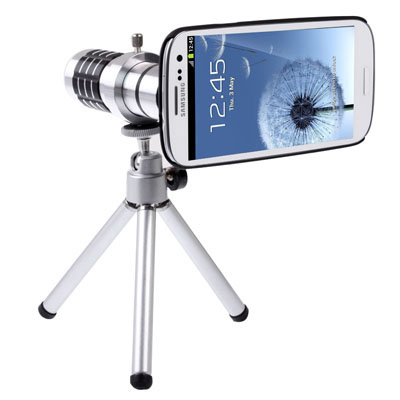 Buy 12X Optical Zoom Mobile Phone Telescope Lens with Tripod + Plastic Case for Samsung Galaxy SIII / i9300, Transparent for $16.20 in SUNSKY store