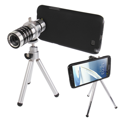 Buy 12X Optical Zoom Mobile Phone Telescope Lens with Tripod + Plastic Case for Samsung Galaxy Note II / N7100 for $13.37 in SUNSKY store