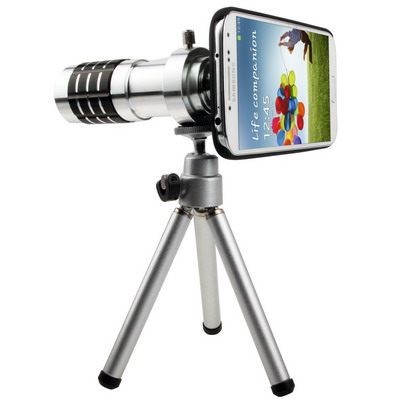 12X Optical Zoom Lens Mobile Phone Telescope Circumscribing Lens with Tripod + Plastic Case for Samsung Galaxy S IV / i9500, Black