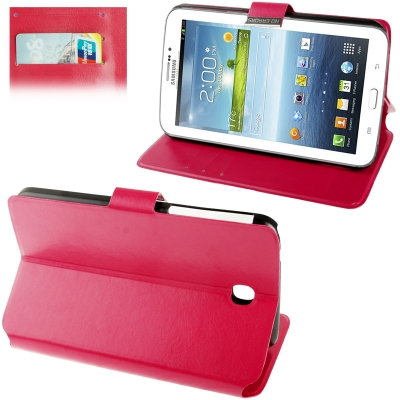 Buy Fine Sheepskin Texture Leather Case with Holder / Credit Card Slots / Sleep / Wake-up Function for Samsung Galaxy Tab 3 (7.0) / P3200, Magenta, Magenta for $3.93 in SUNSKY store