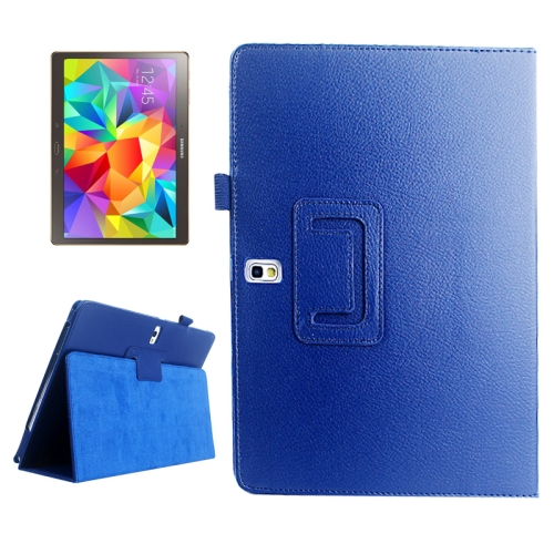 Buy Lichee Texture Horizontal Flip Leather Case with Holder for Samsung Galaxy Tab S 10.5 / T800, Blue for $2.43 in SUNSKY store