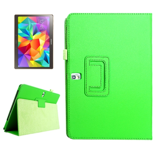 Buy Lichee Texture Horizontal Flip Leather Case with Holder for Samsung Galaxy Tab S 10.5 / T800, Green for $2.55 in SUNSKY store