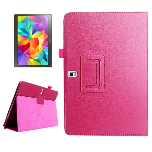 Lichee Texture Horizontal Flip Leather Case with Holder for Samsung Galaxy Tab S 10.5 / T800, Magenta