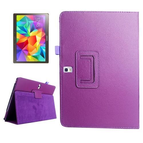 Buy Lichee Texture Horizontal Flip Leather Case with Holder for Samsung Galaxy Tab S 10.5 / T800, Purple for $2.55 in SUNSKY store