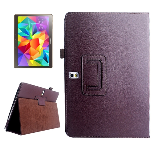 Buy Lichee Texture Horizontal Flip Leather Case with Holder for Samsung Galaxy Tab S 10.5 / T800, Brown for $2.55 in SUNSKY store
