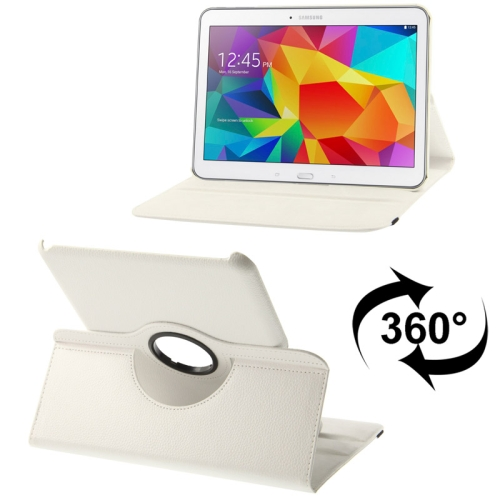Buy 360 Degree Rotatable Litchi Texture Leather Case with 2-angle Viewing Holder for Samsung Galaxy Tab 4 10.1 / SM-T530 / T531, White for $2.35 in SUNSKY store