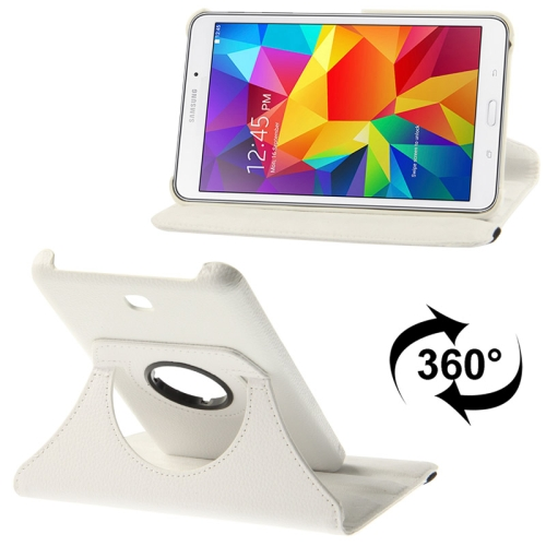 360 Degree Rotatable Litchi Texture Leather Case with 2-angle Viewing Holder for Samsung Galaxy Tab 4 7.0 / SM-T230 / T231 / T235, White