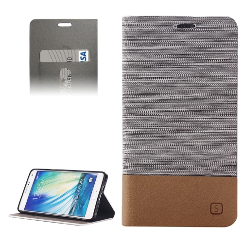Buy Horizontal Flip Canvas Leather Case with Card Slot & Holder for Samsung Galaxy A7 / A700, Gray for $2.41 in SUNSKY store