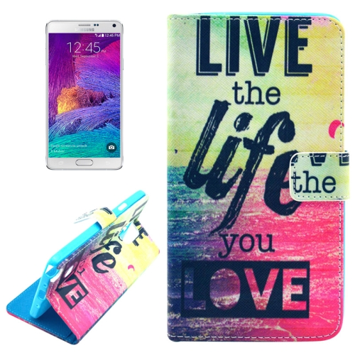 Buy Cross Texture Live the Life You Love Pattern Leather Case with Holder & Card Slots & Wallet for Samsung Galaxy Note 4 for $2.46 in SUNSKY store