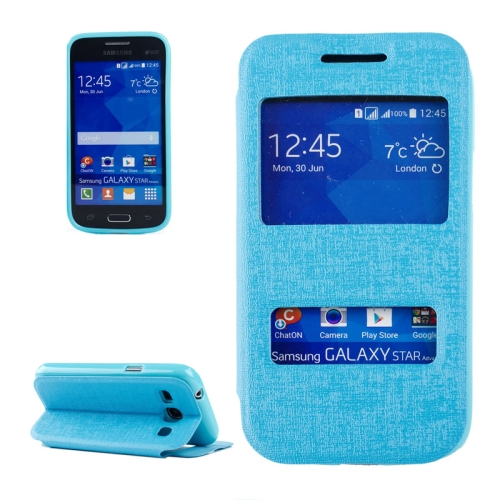 Buy Oracle Texture Horizontal Flip Leather Case with Call Display ID & Holder for Samsung Galaxy Star 2 Plus / G350E, Blue for $2.71 in SUNSKY store