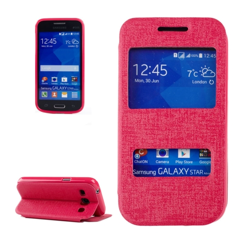 Buy Oracle Texture Horizontal Flip Leather Case with Call Display ID & Holder for Samsung Galaxy Star 2 Plus / G350E, Magenta for $2.71 in SUNSKY store