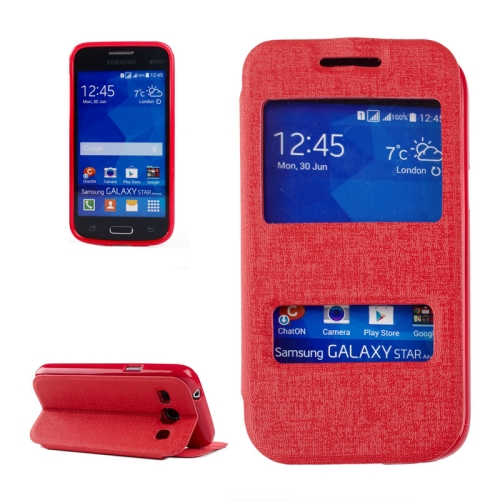 Buy Oracle Texture Horizontal Flip Leather Case with Call Display ID & Holder for Samsung Galaxy Star 2 Plus / G350E, Red for $2.71 in SUNSKY store