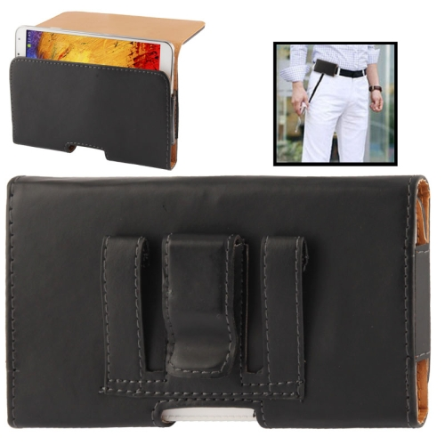 Wallet Style Leather Case with Belt Clip for Samsung Galaxy Note III / N9000 / N7100, Black