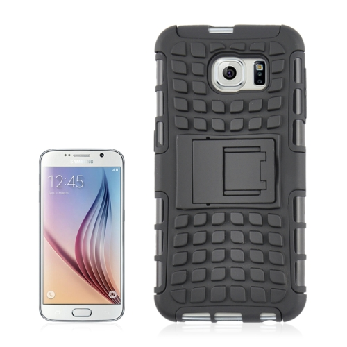Buy For Samsung Galaxy S6 2 in 1 Tyre Texture Back Cover Protective Case with Holder, Black for $2.08 in SUNSKY store