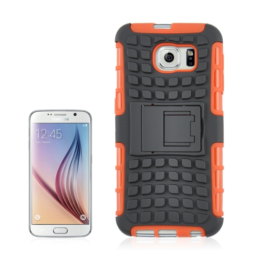 Buy For Samsung Galaxy S6 2 in 1 Tyre Texture Back Cover Protective Case with Holder, Orange for $2.08 in SUNSKY store