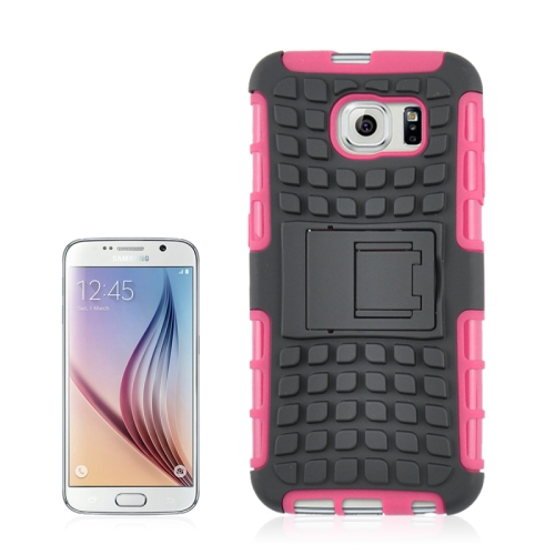 Buy For Samsung Galaxy S6 2 in 1 Tyre Texture Back Cover Protective Case with Holder, Pink for $2.08 in SUNSKY store