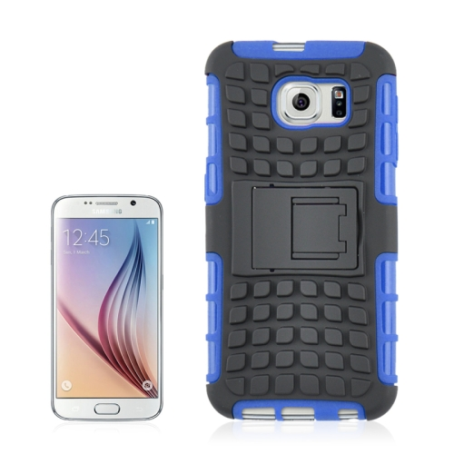 For Samsung Galaxy S6 2 in 1 Tyre Texture Back Cover Protective Case with Holder, Blue