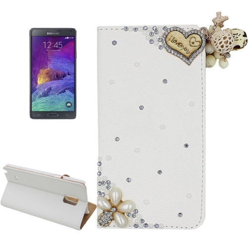 Buy Litchi Texture Flower and Heart Pattern Diamond Encrusted Leather Case with Holder and Card Slots for Samsung Galaxy Note 4 for $3.69 in SUNSKY store